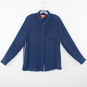 💘 Joe Fresh Navy Blue Chiffon Button Down Large L